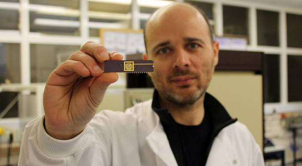 Dr Pedro Estrela with the biochip technology (University of Bath/PA Wire)