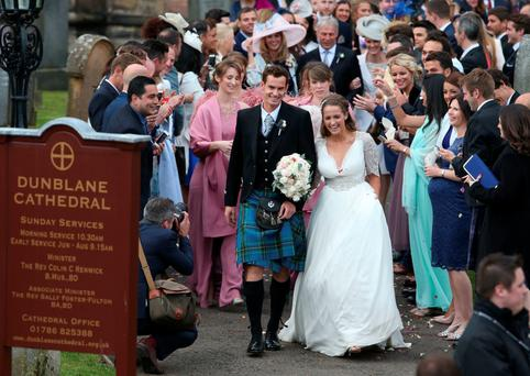 British tennis number one Andy Murray and Kim Sears after their wedding on Saturday at Dunblane Cathedral