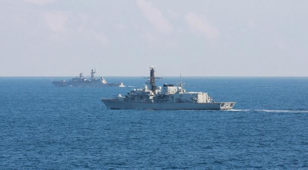 HMS Argyll is monitoring a Russian destroyer and two other ships in the English Channel (MoD/PA)