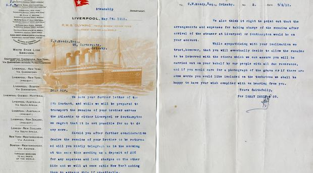 A letter from the owners of the Titanic to the family of a dead officer asking for a large sum of money to return his dead body to England (Henry Aldridge & Son /PA)