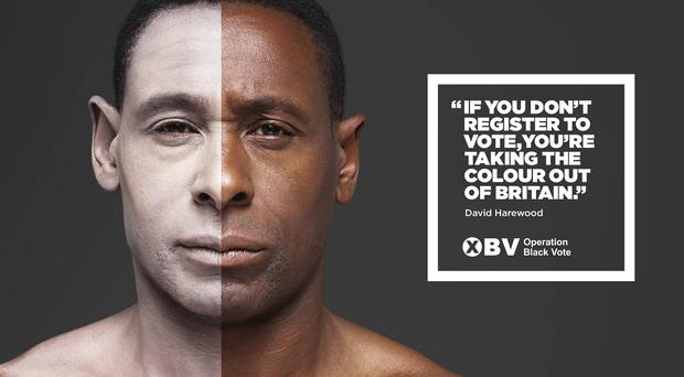 A poster featuring David Harewood, one of four black British stars appearing with white faces in a hard-hitting new campaign to encourage minorities to register to vote (Rankin/Operation Black Vote/Saatchi & Saatchi/PA)