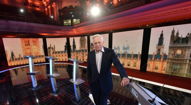 David Dimbleby on the set of the BBC Election Debate 2015 at Central Hall Westminster (PA/BBC)