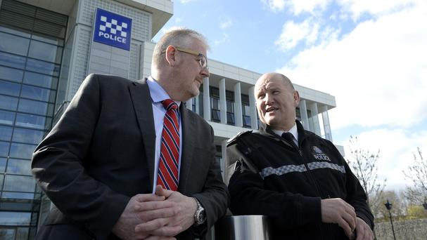 Mike Barton (right) the chief constable of Durham Police, speaks with Dr Joe Sullivan