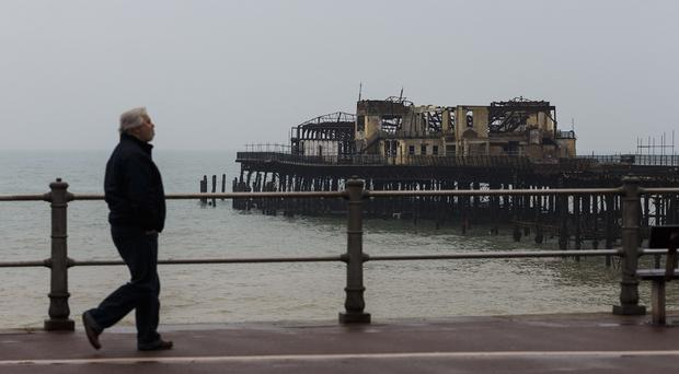 Hastings Pier was almost destroyed in a fire in October 2010 following years of neglect
