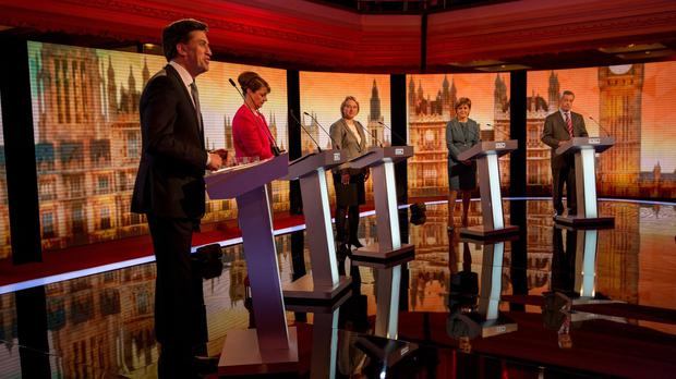 (Left - right) Labour's Ed Miliband, Plaid Cymru's Leanne Wood, Greens' Natalie Bennett, SNP's Nicola Sturgeon and Ukip's Nigel Farage at the Challengers' Election Debate 2015 at Central Hall Westminster