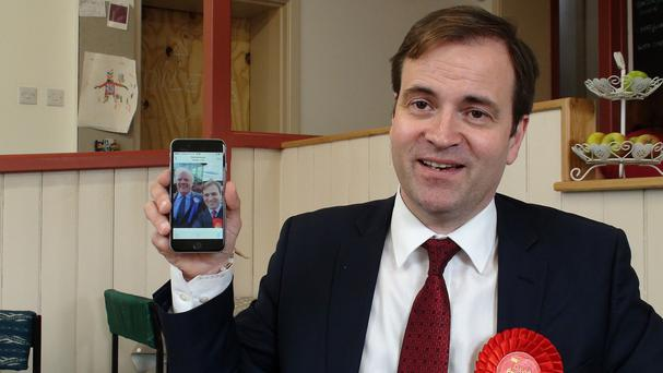 David Prescott, son of former deputy prime minister Lord Prescott, holds a selfie he took with his fellow candidate, Conservative Sir Edward Leigh
