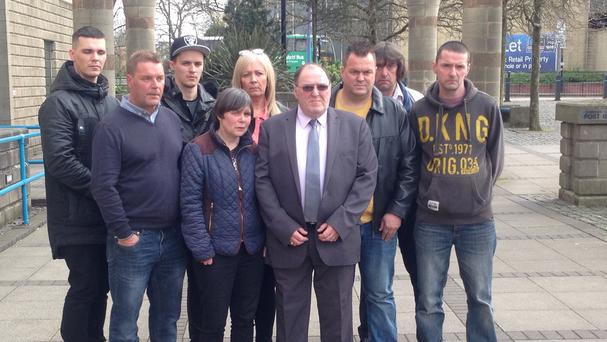 The family of Glynis Bensley outside Wolverhampton Crown Court after the sentencing of her killer, Petri Kurti