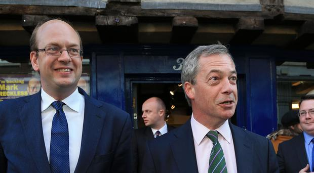 Ukip Leader Nigel Farage (right) with Mark Reckless, Ukip candidate for Rochester and Strood during a campaign walkabout in Rochester High Street, Kent