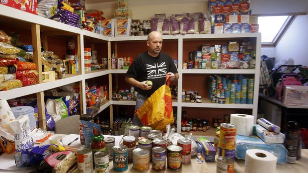 Volunteer William Forey at Drumchapel food bank near Glasgow