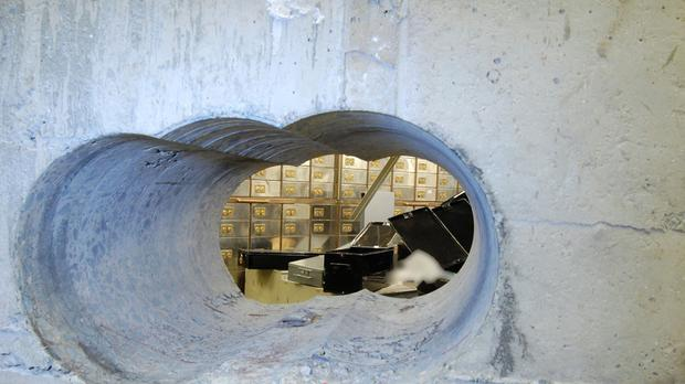 Police released pictures of the tunnel leading into the vault at the Hatton Garden Safe Deposit company