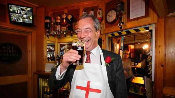 Ukip leader Nigel Farage enjoys a pint in Ramsgate, Kent