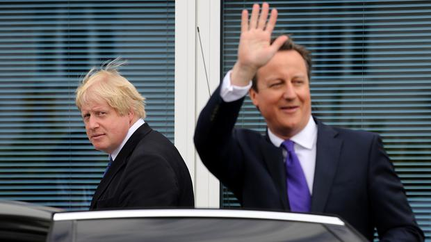 Prime Minister David Cameron (right) and mayor of London Boris Johnson on the election campaign trail