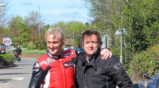 I'm a Celebrity winner Carl Fogarty and Top Gear star Richard Hammond led from the front after joining thousands of other bikers at a charity rally.