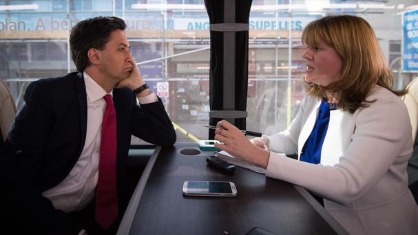 Press Association Political Correspondent Sam Lister interviews Ed Miliband on his campaign bus in South Wales