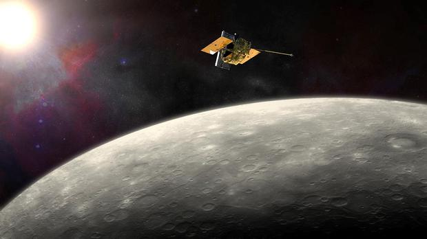 An artist's impression of the Messenger probe orbiting Mercury as the American spacecraft is due to smash into the planet after running out of fuel, bringing a dramatic end to its four year mission.