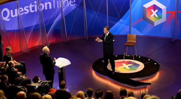 David Cameron takes part in the special BBC Question Time programme, hosted by David Dimbleby