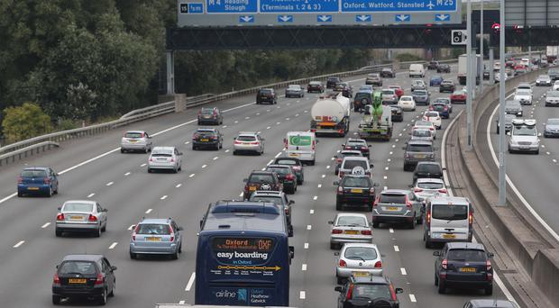 Busy traffic on the M25 near Heathrow Airport at the start of the Bank Holiday weekend