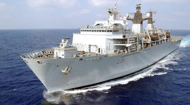 The 19,000 tonne assault ship HMS Bulwark was due to set off on April 26