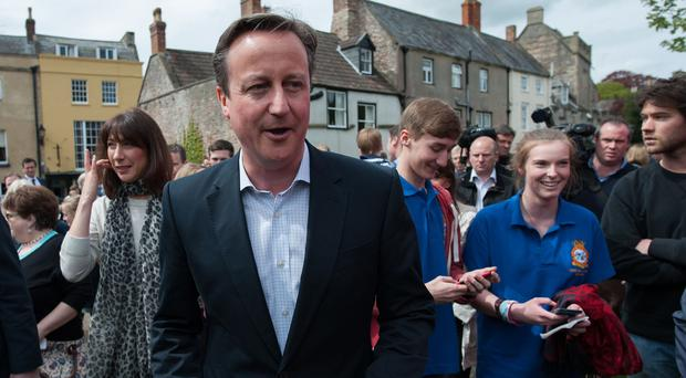 Prime Minister David Cameron will keep his focus on the potential outcomes of a hung parliament