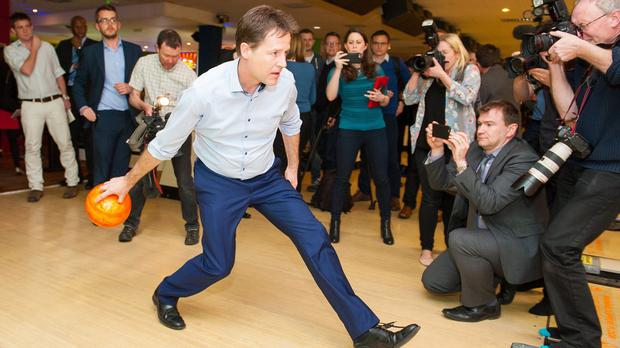 Nick Clegg goes ten-pin bowling during a General Election campaign visit to Colchester