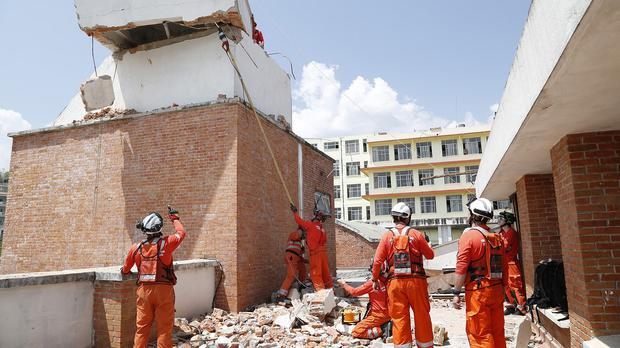 Uk firefighters at work in Kathmandu