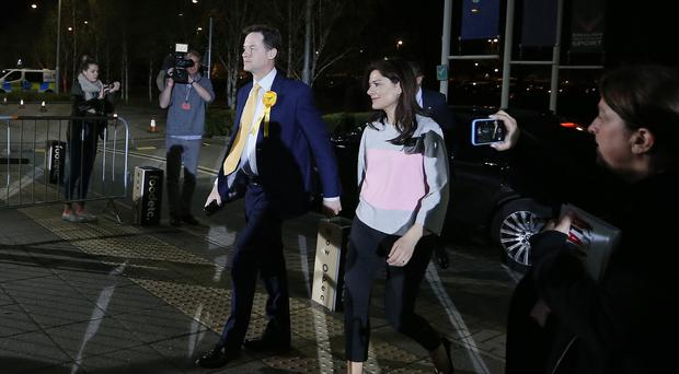 Liberal Democrats leader Nick Clegg and wife Miriam Gonzalez Durantez arrive at the General Election count at the EIS in Sheffield