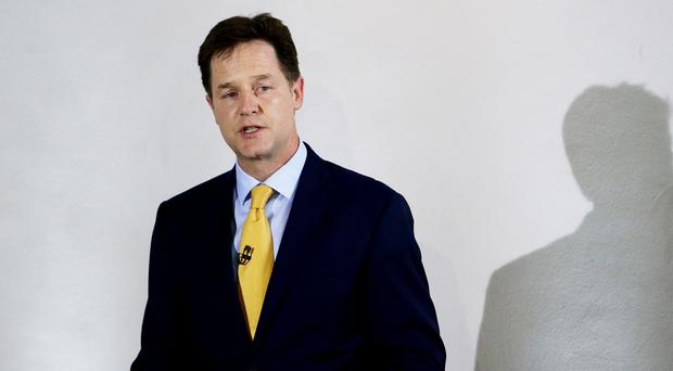 Nick Clegg, speaks to the media and party supporters at the ICA in London, as he resigns as leader of the Liberal Democrats.