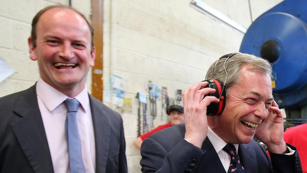 Ukip's Douglas Carswell, left, pictured with Nigel Farage, says he will not be a contender for the party leadership