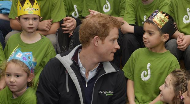 Prince Harry meets pupils from Halfmoon Bay School on Stewart Island