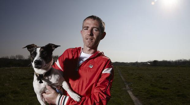 Lee Nutley with his dog Mitzy who features in the new series of Benefits Street which was filmed on Kingston Road in Stockton-On-Tees.