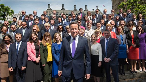Prime Minister David Cameron with newly elected Conservative MPs, at the Houses of Parliament