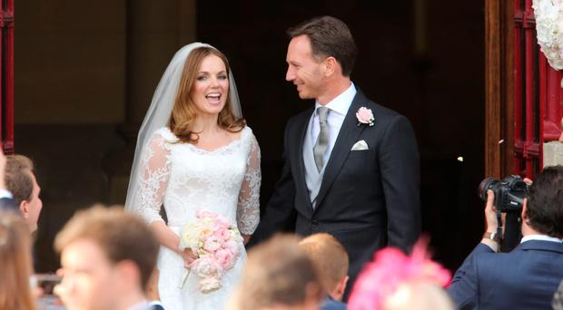The wedding of Geri Halliwell and her new husband, Formula 1 boss Christian Horner, at St Mary's Church in Bedfordshire yesterday