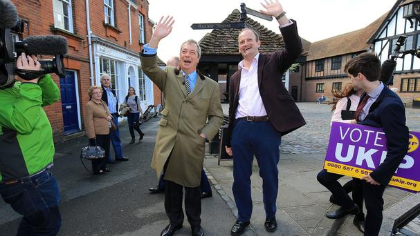 Ukip leader Nigel Farage, left, and Douglas Carswell on the election campaign trail in Clacton