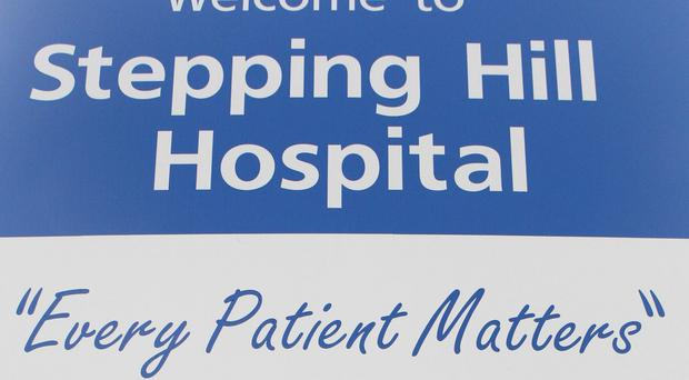 A sign at the entrance to Stepping Hill hospital in Stockport