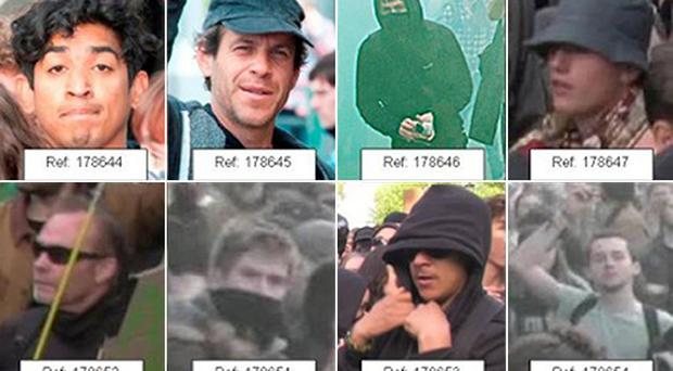 Images issued by Metropolitan Police of people they want to speak to in connection with a disturbance in central London shortly after the general election.