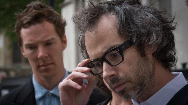Concert pianist James Rhodes (right) leaves the Supreme Court in London with actor Benedict Cumberbatch