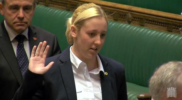 Mhairi Black is sworn in as the MP for Paisley and Renfrewshire South in the House of Commons