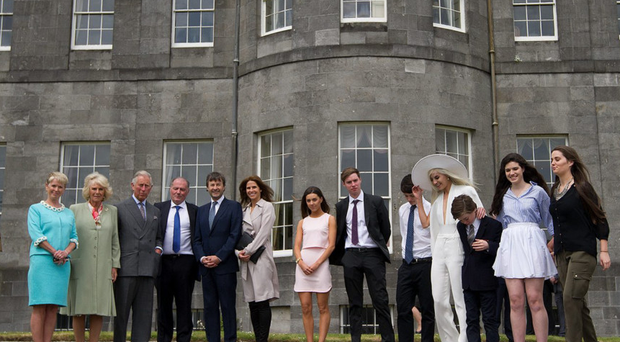 Prince and Duchess of Cornwall with the owners of Yeats' summer home Lissadell House, Constance Cassidy (left) and Eddie Walsh (fourth left) and their family and friends