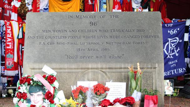 The memorial outside Hillsborough Stadium