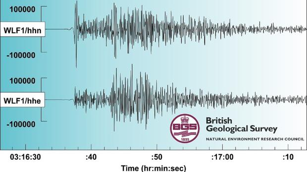 A British Geological Survey seismogram records an earthquake