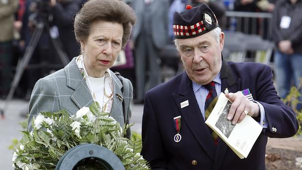 The Princess Royal lays a wreath at Gretna Old Parish Church