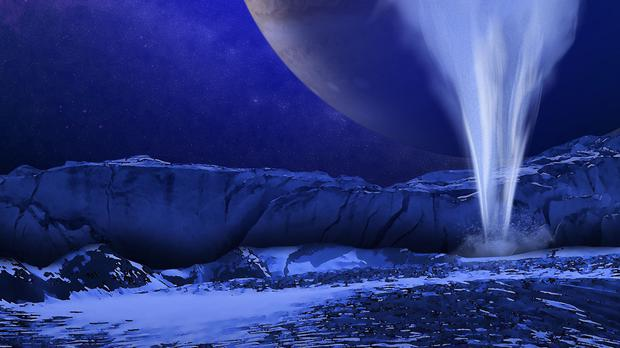 An artist's impression of a plume of water vapour erupting from the icy surface of Jupiter's moon Europa (Nasa/AP)