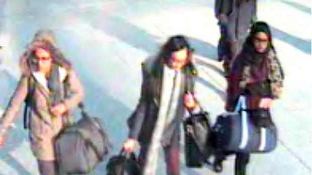 A CCTV image of Amira Abase, Kadiza Sultana and Shamima Begum at Gatwick airport in February
