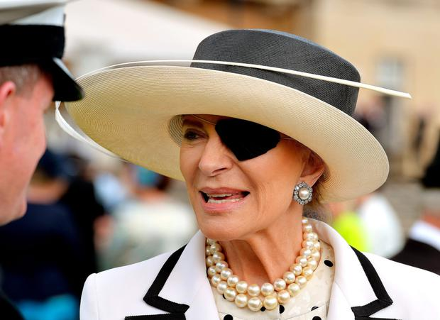 Princess Michael of Kent wearing an eye patch