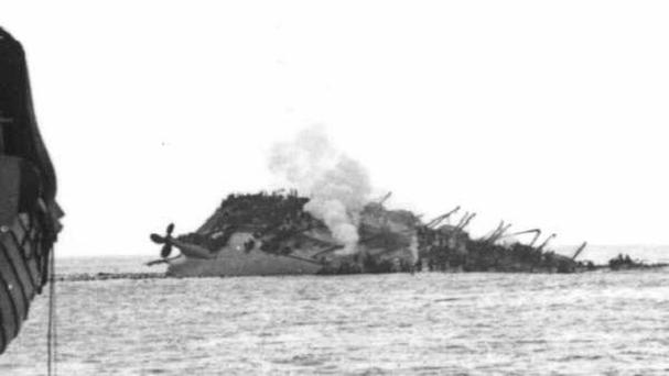 The Lancastria after being hit by German bombers off the coast of France in 1940 (Lancastria Association of Scotland/PA)