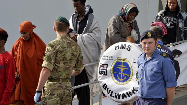 Migrants have been rescued and taken to Italy by HMS Bulwark (Ministry of Defence/PA)