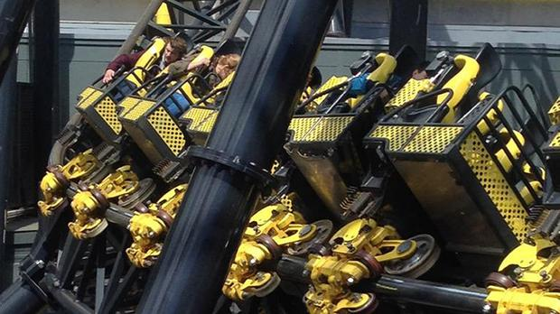 Photo taken with permission from the Twitter feed of @_ben_jamming of Alton Towers' Smiler rollercoaster after four people were seriously injured in a collision between two carriages