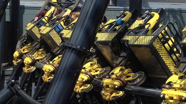 Alton Towers amusement park's Smiler rollercoaster after four people were seriously injured in a collision between two carriages (@_ben_jamming/PA)