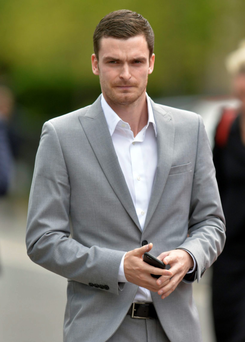 Sunderland and England player Adam Johnson leaves Durham Crown Court yesterday