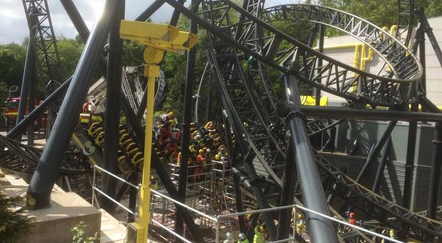 The scene at Alton Towers after a collision between two carriages on the amusement park's Smiler rollercoaster (@OFFICIALWMAS/PA)